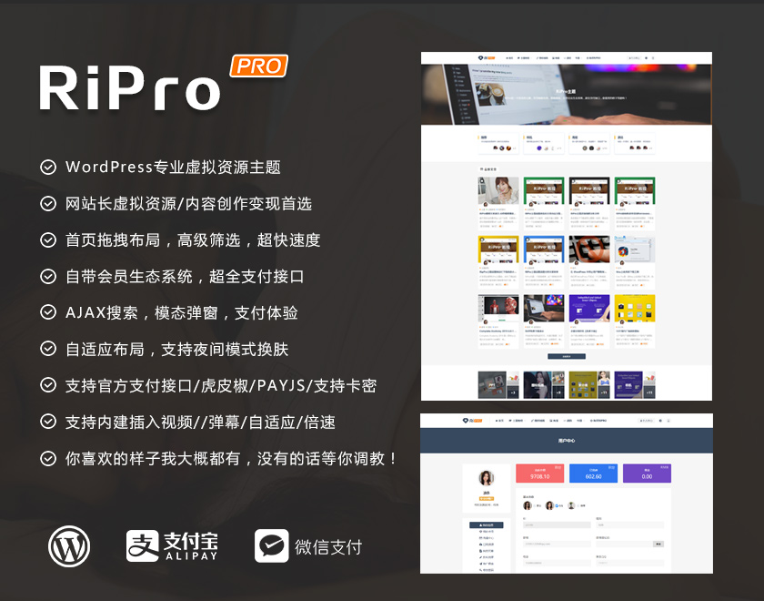 wordpress日主题RiPro7.2明文完整版+新增商城管理-卡密管理-导出卡密